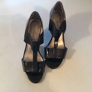 Bandolino T-Strap Patent Leather Sandal Heels